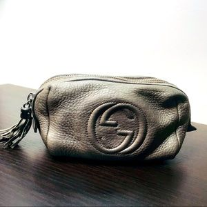 AUTHENTIC GUCCI SMALL MAKEUP BAG IN PEWTER